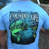 Country Life Outfitters Bass Fishing Vintage Unisex Blue Bright T Shirt