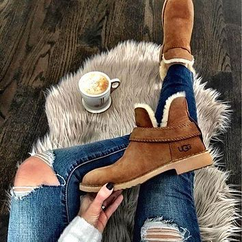 UGG new fashion brown mid-tube plush snow boots Shoes