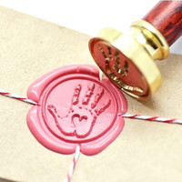 B20 Wax Seal Stamp Baby Shower Hand Handprint with Heart