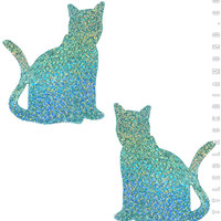 Kitty Pasties in Mint Hologram