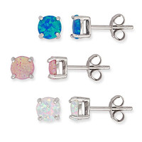 Sterling Silver Blue, Pink & White Created Opal Set of 3 Round 6mm Basket-set Stud Earrings