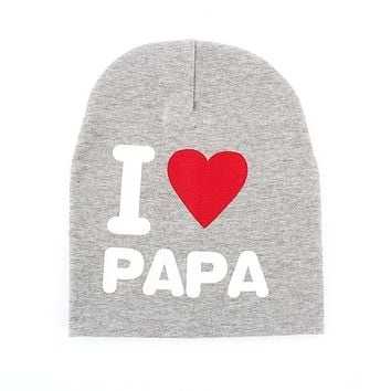 I LOVE MAMA/PAPA Letter Printed Pattern Baby Skullies Boy Girl Cotton Warm Beanie Caps New Sale