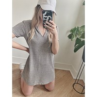 Split Neck Triblend Tee Dress