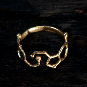 Dopamine and Serotonin Molecule Ring | Chemistry Jewelry | Neurotransmitter |Science Jewelry | Brass Ring
