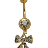 """14G 7/16"""" Steel Gold Tone Bow Navel Barbell"""