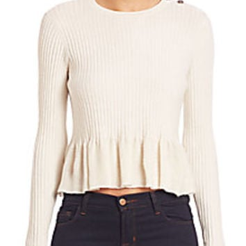 Rebecca Taylor - Ribbed Peplum Top - Saks Fifth Avenue Mobile