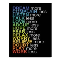More and Less List Wall Art in Black