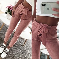 New style 2018  Fashion women suede pants ladies Leather bottoms female trouser Casual Red wine pencil pants high waist trousers
