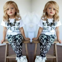 US Toddler Kids Baby Girls Letters T-shirt Tops+ Pants Outfits Clothes 2PCS Set