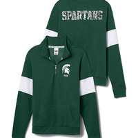 Michigan State Bling Half-Zip Pullover - PINK - Victoria's Secret