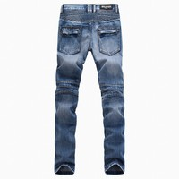 Stretch Blue Men's Fashion Slim Plus Size Jeans [10699383363]