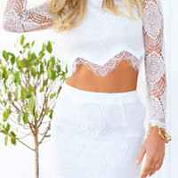 White Floral Lace Cropped Top and Mini Skirt Set