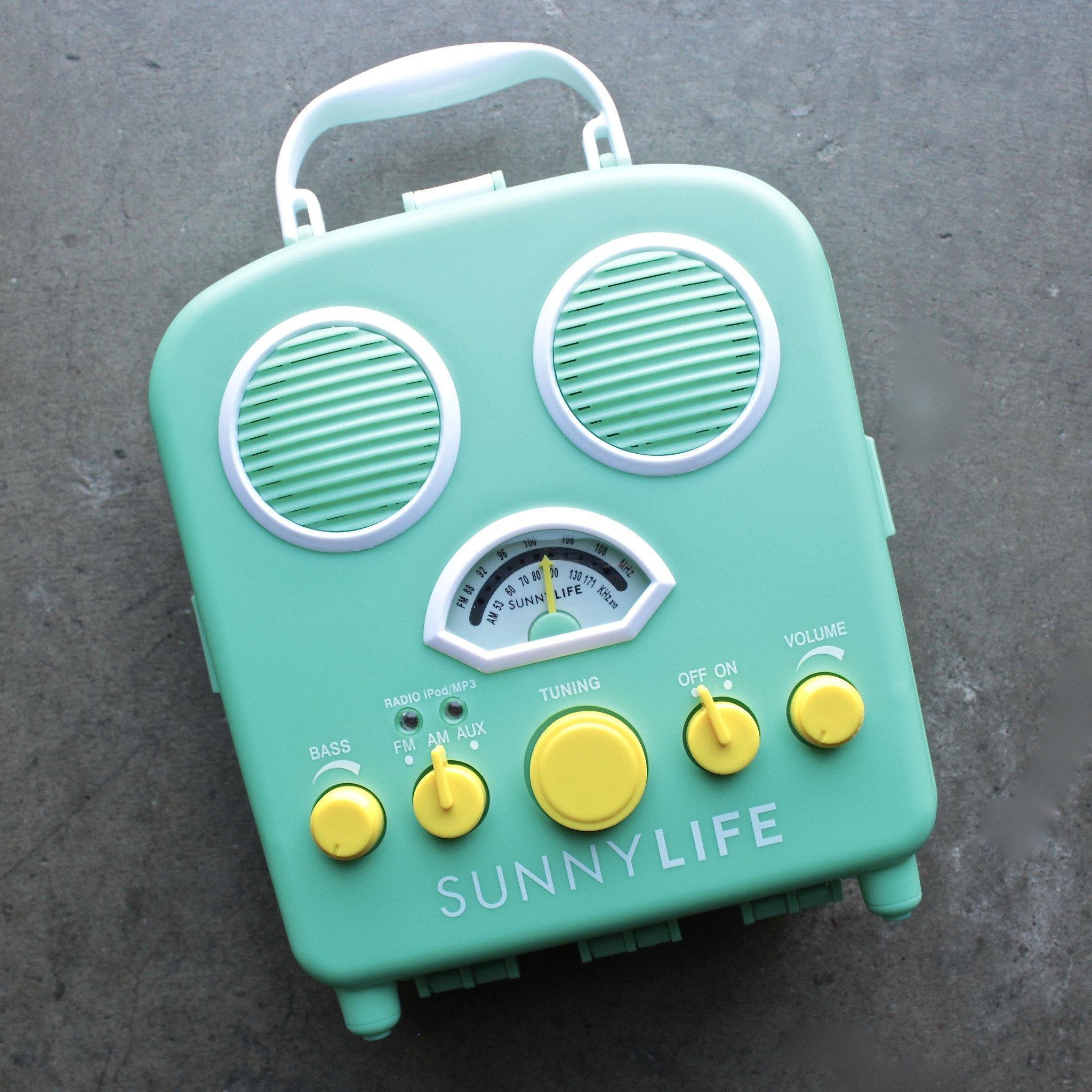 Image of sunnylife - beach sounds portable water resistant speaker & radio in green