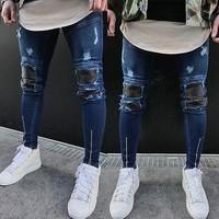 Mens Ripped Slimfit Skinny Jeans Stretch Denim Distress Frayed Biker Jeans Boys