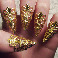 Gold Dragon Claws // Nail Armor // Set of 5