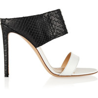 Gianvito Rossi | Python and leather mules | NET-A-PORTER.COM
