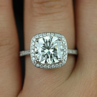 Hollie 14kt White Gold Cushion FB Moissanite and Diamonds Halo Engagement Ring (Other metals and stone options available)