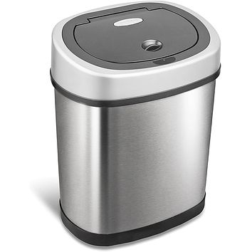 Touchless Infrared Motion Sensor Trash Can, 3 Gal. 12 L., Stainless Steel (Oval