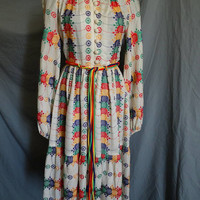 1970s Embroidered Victor Bijou Bohemian Festival Dress