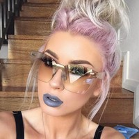 Fashion Rimless Square Sunglasses Women Brand New Oversized Shades Sun Glasses Eyewear Female Girls Pink Sunglass Glasses
