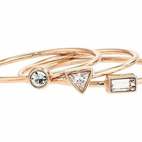 Fossil Stackable Ring Set with Crystal