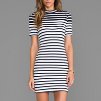T by Alexander Wang Compact Engineer Stripe Short Sleeve Dress in Ink & White