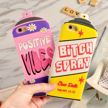 New Postive Vibes Bottle Repellent Bitch Spray 3D Silicone Case For apple iphone 6s case 6 / 6s Plus back cover Protective Funda