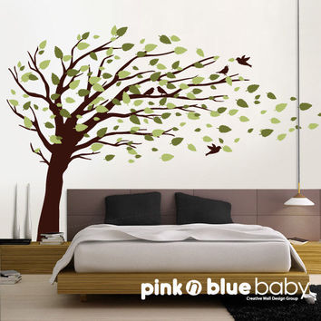 Wall decals  Blowing Leaves Tree,  Birds- Nursery Kids Removable Wall Vinyl Decal