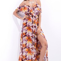 Boho Flower Print Frills V-Neck Strapless Short Sleeve Strap Split Maxi Dress