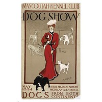 mascoutah kennel club DOG SHOW FROM BOTH CONTINENTS vintage ad poster 24X36