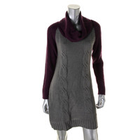 NY Collection Womens Cable Knit Colorblock Sweaterdress
