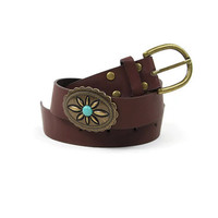 Turquoise Flower Stone Belt in Brown