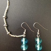 Clear blue glass beads with silver bead cartilage chain earrings
