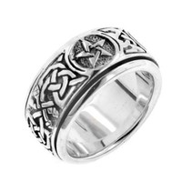 Sterling Silver Celtic Knot Pentacle Spin Ring(Sizes 4,5,6,7,8,9,10,11,12,13,14,15)
