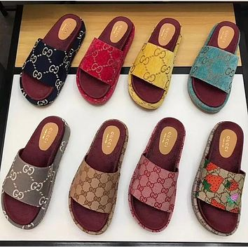 Vsgirlss GUCCI new classic GG letters ladies platform sandals and slippers high quality