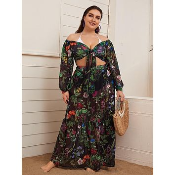 Plus Knot Front Botanical Top & Skirt Cover Up Set