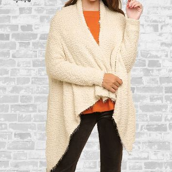 Waterfall Popcorn Cardigan - Cream - S, M, L, XL & 1X