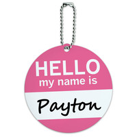 Payton Hello My Name Is Round ID Card Luggage Tag