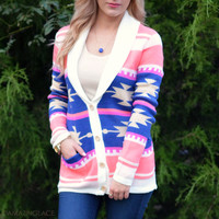 Candy Fields Pink Aztec Button Cardigan