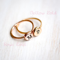 Personalized 14kt Gold Monogram Ring - Letter - Initial - Celtic Style - Rose or Yellow Gold