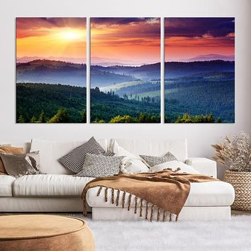 Sunset over Forest Large Wall Art Canvas Print
