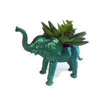 Up-cycled Glittery Emerald Green Elephant Planter