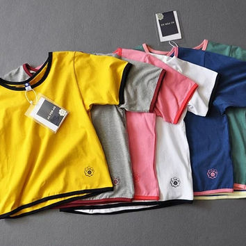 """""""AC FOR AG"""" Fashion Casual Multicolor Short Sleeve T-shirt Candy Colors Short Shirt Top Tee"""
