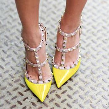 Valentino Hot Sale Popular Women Pointed Rivet Sandals Shoes High Heels Yellow