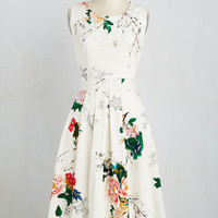 Critters Long Sleeveless Fit & Flare Executive Branches Dress in Ivory
