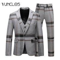 YUNCLOS Classic Plaid Men's Suits 3 Pieces Suits with Pant for Men Navy Gray Suits Business Wedding Men Woolen Tuxedo Dress