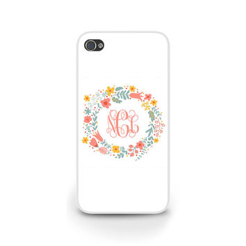 Floral Wreath iPhone Case, iPhone 4, iPhone 5, Girly Phone Case, Samsung Galaxy S4, S5, Monogrammed Personalized Cell Phone Cover - 0353