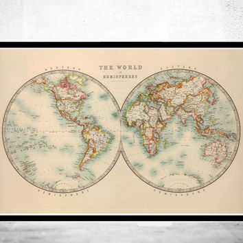 Old World Map Atlas Vintage World Map 1912 Two Hemispheres
