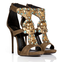 Giuseppe Zanotti - Suede Sandals with Embellished Front in Military