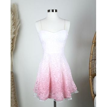 Final Sale - Glits & Glams Lacy Floral Dip Dye Fit and Flare Dress in Pink